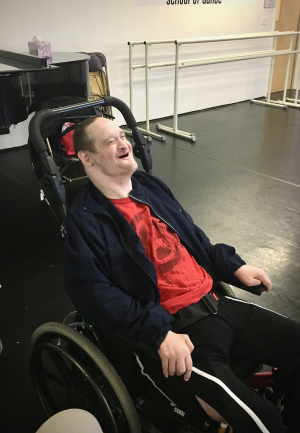 James enjoying himself at the dance studio